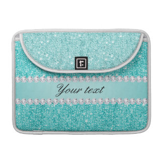 Faux Teal Sequins and Diamonds MacBook Pro Sleeves