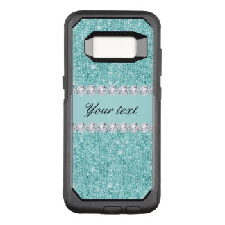 Faux Teal Sequins and Diamonds OtterBox Commuter Samsung Galaxy S8 Case
