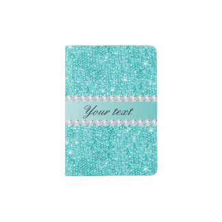 Faux Teal Sequins and Diamonds Passport Holder