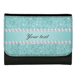 Faux Teal Sequins and Diamonds Wallets