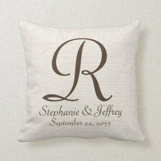 Faux Textured Burlap Monogram and Names Pillow