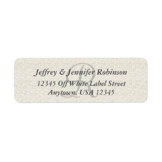 Faux Textured Burlap Off White, Monogram Address