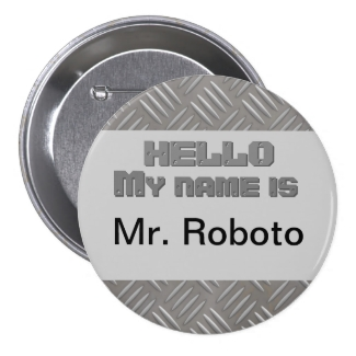 Faux Textured Metal Nametag Pin Hello My Name is