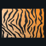 """Faux Tiger Print Cloth Placemat<br><div class=""""desc"""">This faux Tiger Print features black simulated Tiger stripes on a gradient orange toned background.</div>"""