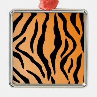 Faux Tiger Print Metal Ornament
