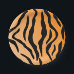 "Faux Tiger Print Paper Plate<br><div class=""desc"">This faux Tiger Print features black simulated Tiger stripes on a gradient orange toned background.</div>"