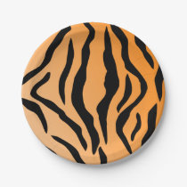 Faux Tiger Print Paper Plate