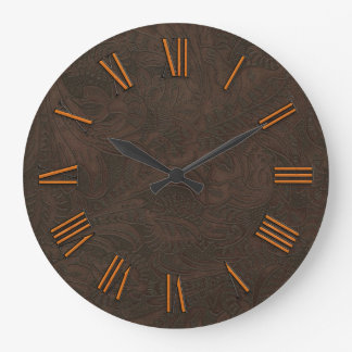 Faux Tooled, Carved Leather & Copper-look Numerals Large Clock