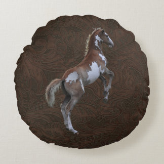 Faux Tooled-Leather & Indian Paint Pinto Colt Round Pillow