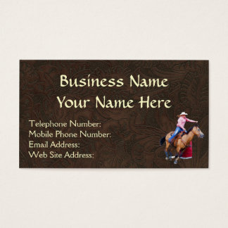Faux Tooled Leather, Rodeo Barrel Racing Biz Cards