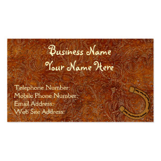 Faux Tooled Leather Western style 3 Business Cards