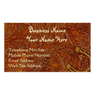 Faux Tooled Leather Western style 3 Profile Cards Business Card