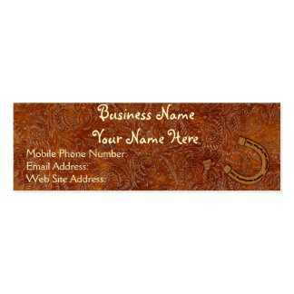Faux Tooled Leather Western style 3 Profile Cards Mini Business Card
