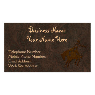 Faux Tooled Leather Western style 8 Business Cards