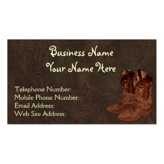 Faux Tooled Leather Wrangler style VI Double-Sided Standard Business Cards (Pack Of 100)