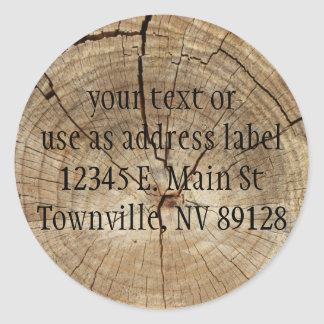 Faux Tree Rings Background Classic Round Sticker