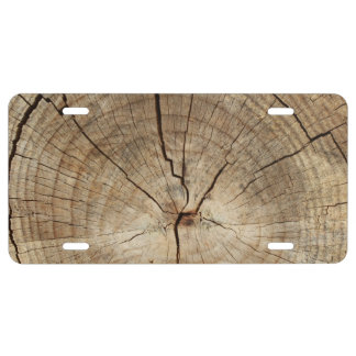 Faux Tree Rings Background License Plate