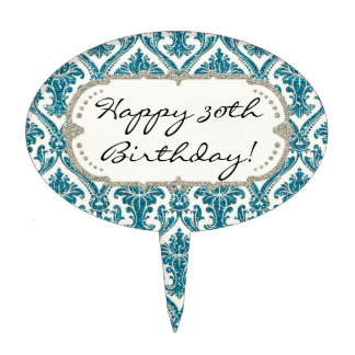 Faux Turquoise Blue Glitter Damask Floral Pattern Cake Topper