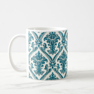 Faux Turquoise Blue Glitter Damask Floral Pattern Coffee Mug