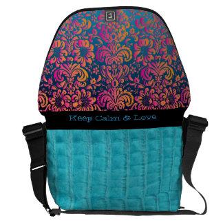 Faux Turquoise Gator Skin & Floral Fashion Bag