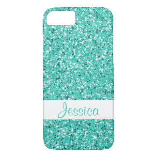 Faux Turquoise Glitter Look-like With Custom Name iPhone 8/7 Case