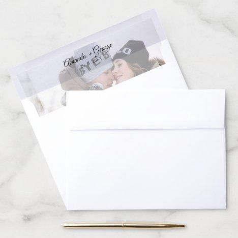Faux Vellum Effect Photo Wedding Envelope Liner