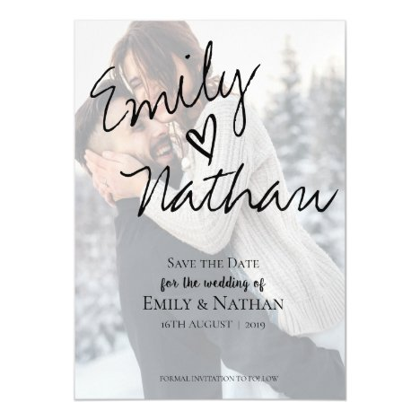 Faux Vellum Effect Photo Wedding Save the Date Magnetic Invitation
