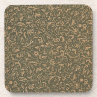 Faux vintage book cover, retro wallpaper pattern drink coaster