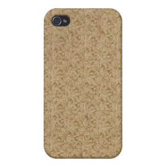 Faux vintage book cover, retro wallpaper pattern iPhone 4/4S cover