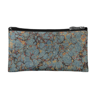 Faux vintage book cover, retro wallpaper pattern makeup bag