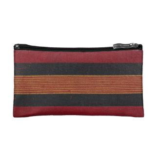 Faux vintage book cover texture, retro linen weave cosmetic bag