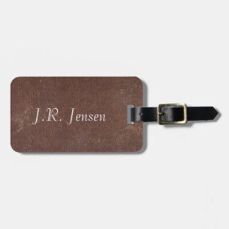 Faux Vintage Brown Leather Travel Bag Tag