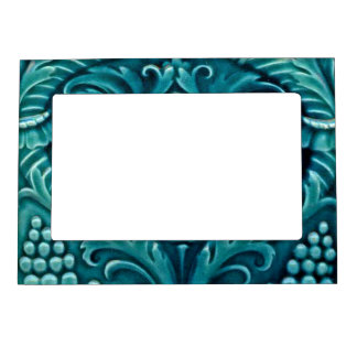 Faux Vintage Ceramic Tile Fridge Art Gallery Aqua Magnetic Picture Frame
