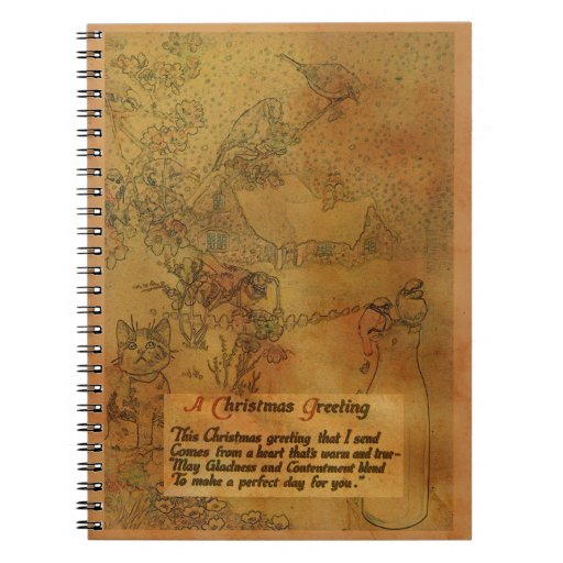 Faux Vintage Christmas Spiral Notebook