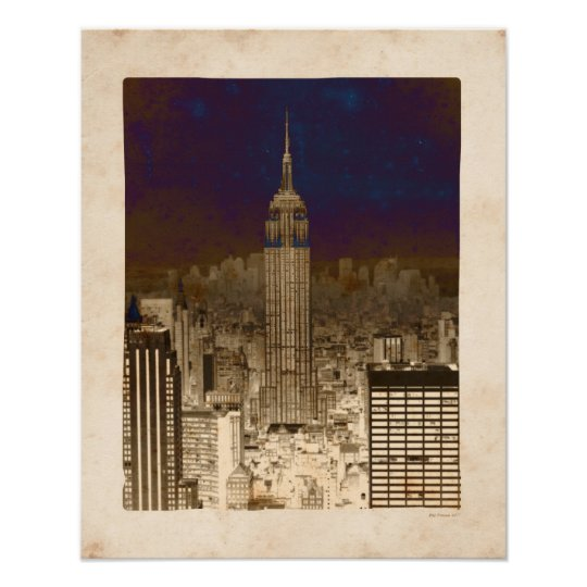 Faux Vintage Empire State Building Poster
