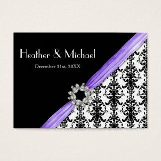 Faux Vintage Jewel Buckle Black White Damask Business Card
