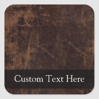 Faux Vintage Leather-Look Square Stickers
