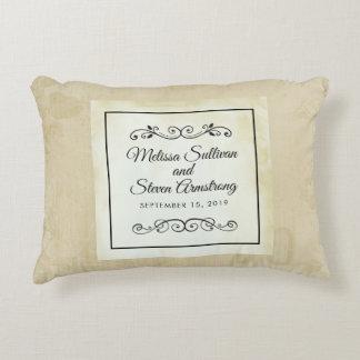Faux Vintage Parchment Simple & Elegant Wedding Accent Pillow