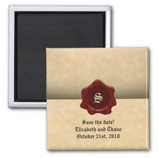 Faux Wax Seal and Parchment Vintage Goth 2 Inch Square Magnet