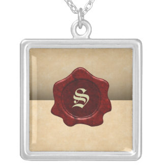 Faux Wax Seal and Parchment Vintage Goth Silver Plated Necklace