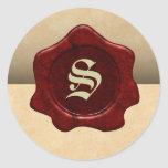 Faux Wax Seal and Parchment Vintage Goth Classic Round Sticker