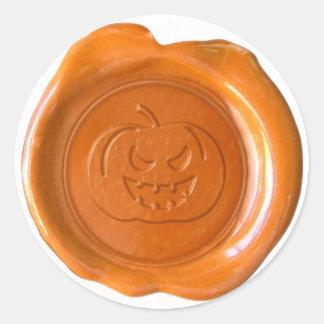 Faux Wax Seal - Orange - JACK-O-LANTERN 01 Classic Round Sticker