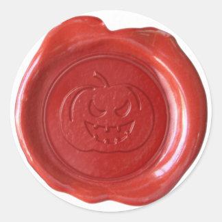 Faux Wax Seal - Red - JACK-O-LANTERN 01 Classic Round Sticker
