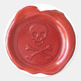 Faux Wax Seal - Red Skull Crossbones - Round Sticker