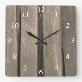 Faux Weathered Barn Wood Square Clock