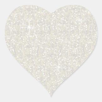 Faux White Glitter Confetti Heart Sticker