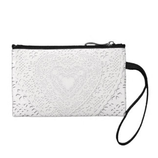 Faux White Lace Fabric Background Coin Purses