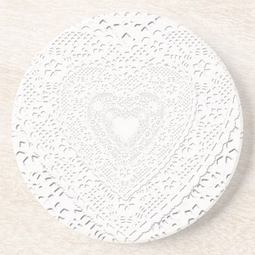 Faux White Lace Fabric Background Drink Coasters