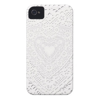 Faux White Lace Fabric Background iPhone 4 Case