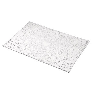 Faux White Lace Fabric Background Cloth Placemat